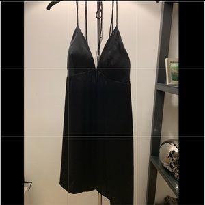 Black V-Neck Slip dress, open back